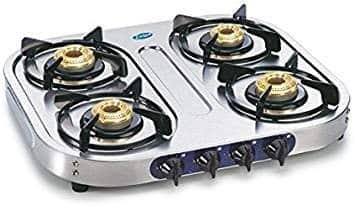 Glen LPG Stove 1044 SS Brass 4 Burner Gas Cooktop