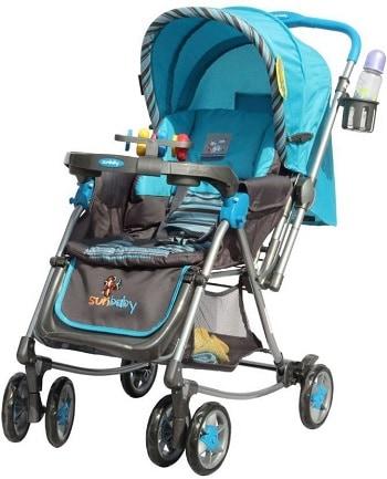 Sunbaby Blue Aurora Stroller with Rocking