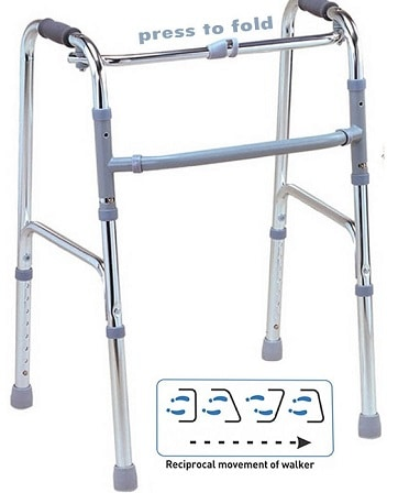 Viva Healthcare Light Weight Balanced Frame Folding Walker For Adults & Patients