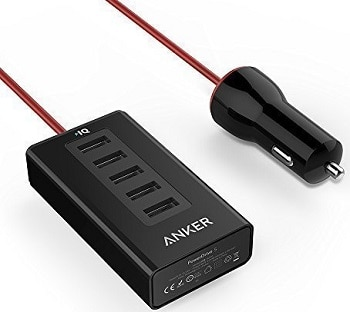 Anker 5-Port USB Car Charger with PowerIQ Technology for Apple iPhones and iPads, Android Smartphones and Tablets