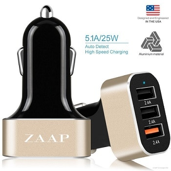 ZAAP® Three port Turbo USB Aluminium Car charger
