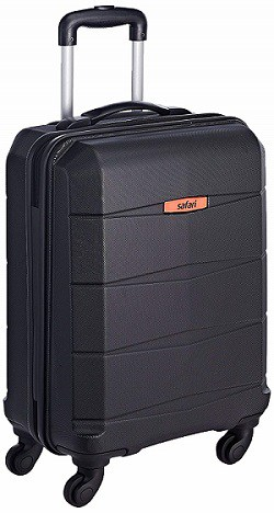 Safari Polycarbonate 56 Ltrs Black Hardsided Carry On