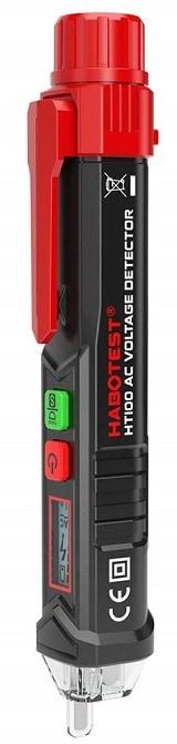 HABOTEST HT100 Non-Contact AC 12V-1000V 48V-1000V Voltage Test Pen Detector with LED Sound Alarm