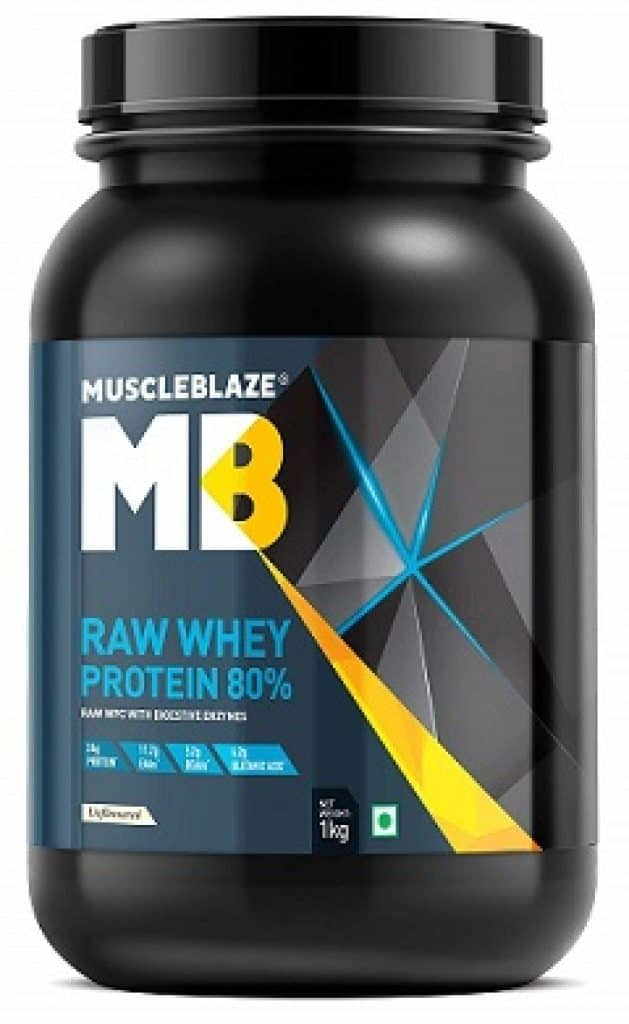 MuscleBlaze Raw Whey Protein Concentrate 80% with added digestive enzymes