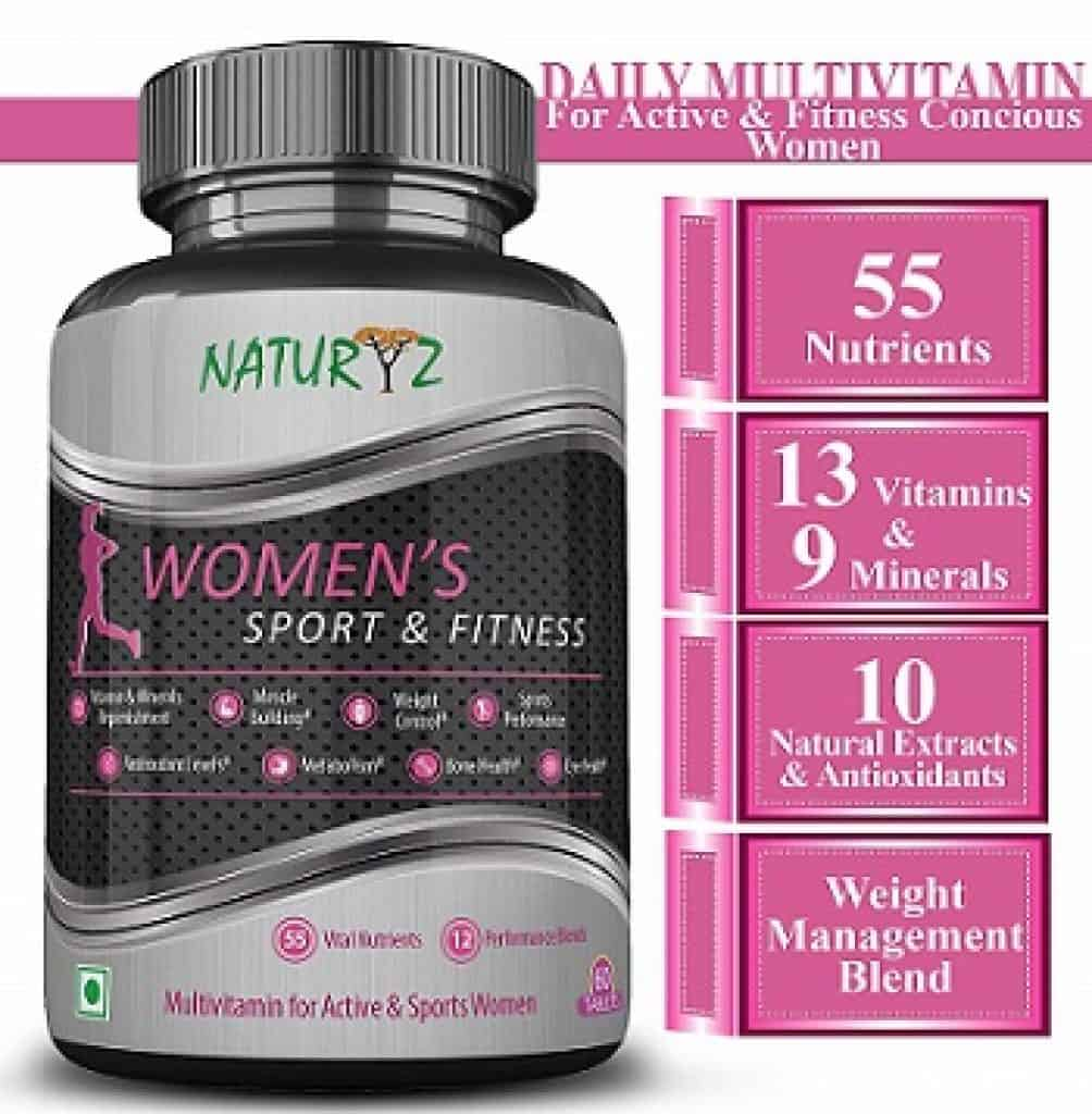 Naturyz Women's Fitness Daily Multivitamin with 55 Vital Nutrients, 12 Performance Blends