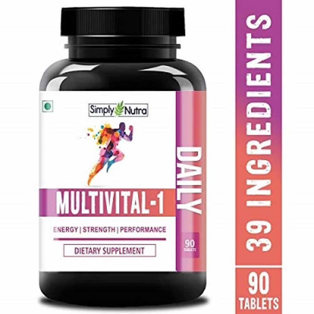 Simply Nutra Multivital-1 Multivitamin -With 39 Natural Vitamins, Minerals, Raw Extracts - Vegetarian - 90 Tablets