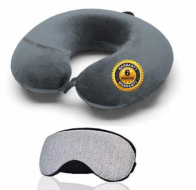 Trajectory 2 in 1 Travel Combo Supercomfy Travel Grey Neck Pillow with Sleeping Eye Mask