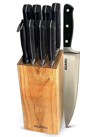 AGARO Galaxy, 9pcs Set, Stainless Steel Kitchen Knife with Triple-Riveted Handle