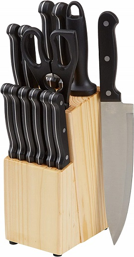 AmazonBasics Stainless Steel Knife Set with High-Carbon Blades and Pine Wood Block, 14 Pieces