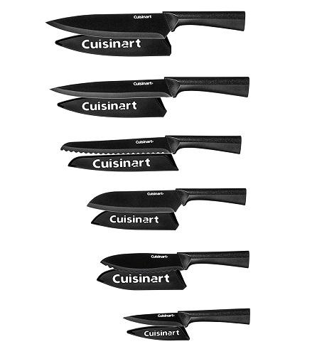 Cuisinart Advantage 12 Piece Metallic Knife Set With Blade Guards, Black